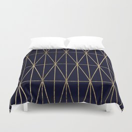 Modern gold geometric triangles pattern navy blue watercolor Duvet Cover