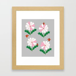White and Pink Daisies and Lady Bugs Framed Art Print