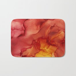 Red Sunset Abstract Ink Painting Red Orange Yellow Flame Bath Mat