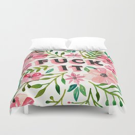 Fuck It – Pink & Green Floral Palette Duvet Cover