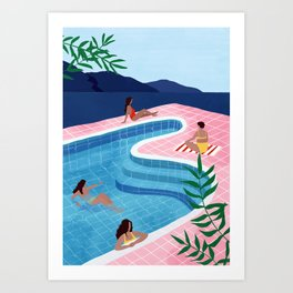 Pool ladies Art Print