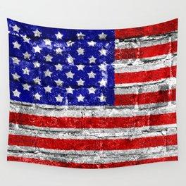 USA Flag Brick Wall Wall Tapestry