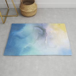 Navy blue teal lavender yellow watercolor brushstrokes Rug