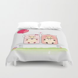 Piggie Couple Duvet Cover