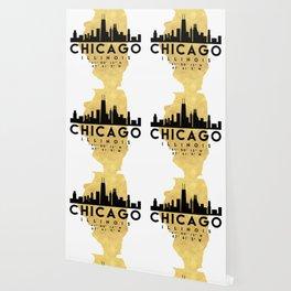 CHICAGO ILLINOIS SILHOUETTE SKYLINE MAP ART Wallpaper