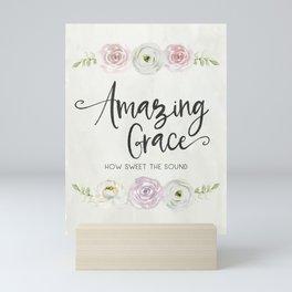 Amazing Grace Art Poster with Watercolor Florals Mini Art Print