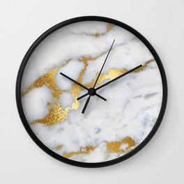 White and Gray Marble and Gold Metal foil Glitter Effect Wall Clock