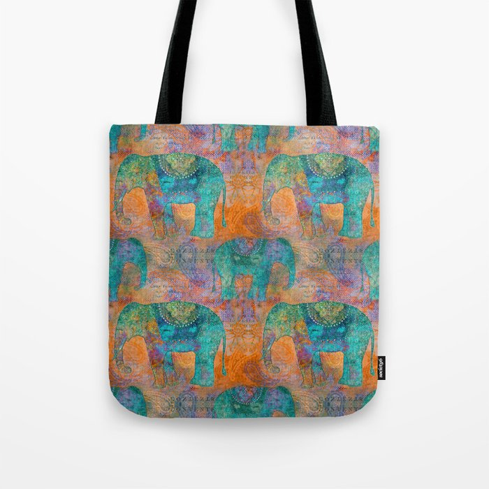 Elephant Pattern allover orange turquoise Tote Bag