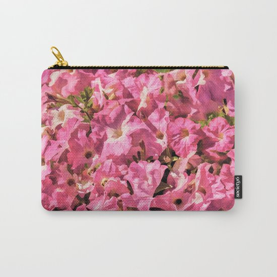 Vintage Pretty Pink Petunias Carry-All Pouch