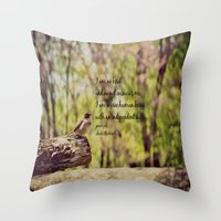 jane eyre Throw Pillows featuring I Am No Bird Jane Eyre Charlotte Bronte Quote by KimberosePhotography