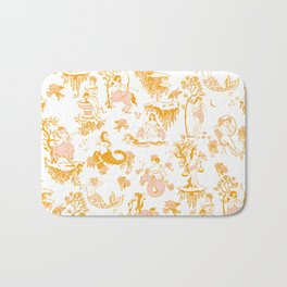 Astrology-Inspired Zodiac Gold Toile Pattern Bath Mat