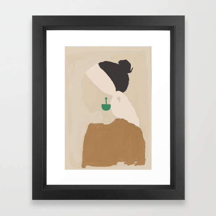 Minimalist Woman with Green Earring Framed Art Print