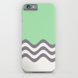 Pastel Green, Gray & Linen White Wavy Stripes 2 Pairs to Coloro 2020 Color of the Year Neo Mint iPhone Case