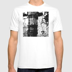 Barbed Wire Fence Post B/W MEDIUM White Mens Fitted Tee