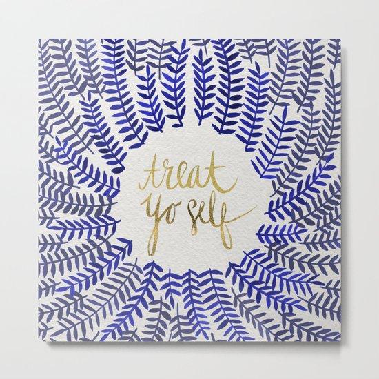 Treat Yo Self – Gold & Navy Metal Print