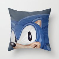 video games Throw Pillows featuring Triangles Video Games Heroes - Sonic by s2lart