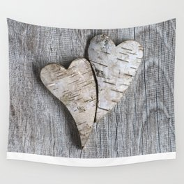 two wooden hearts love symbol Wall Tapestry