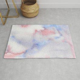 Abstract Watercolor Minimalist Quiet Murmur I periwinkle pink marble Rug