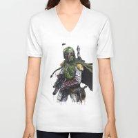 boba V-neck T-shirts featuring Boba Fett by KristinMillerArt
