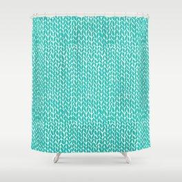 Hand Knit Aqua Shower Curtain