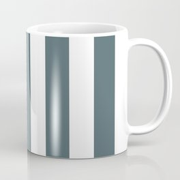Stormcloud grey - solid color - white vertical lines pattern Coffee Mug