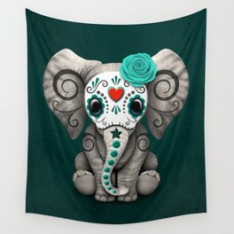 Teal Blue Day of the Dead Sugar Skull Baby Elephant Wall Tapestry