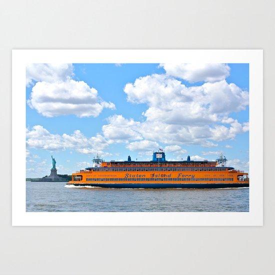 Staten Island Ferry & Statue of Liberty Art Print