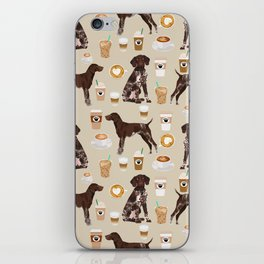 German Shorthair Pointer dog breed custom pet portrait coffee lover pet friendly gifts iPhone Skin