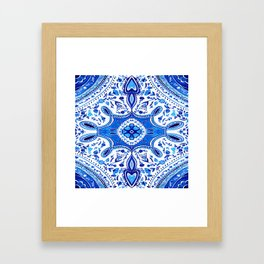 Indigo Mandala Tapestry Design Framed Art Print