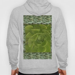 COLLAGE GRAY-GREEN  SUCCULENTS  MODERN DESIGN Hoody
