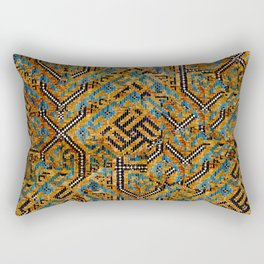 Samarkand blue and cocoa brown broken pattern Rectangular Pillow