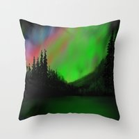 northern lights Throw Pillows featuring Northern Lights by Turul