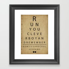 Run You Clever Boy - Doctor Who Inspired Vintage Eye Chart Framed Art Print