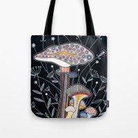 mushrooms Tote Bags featuring Mushrooms by Asja Boros