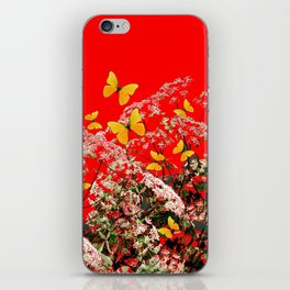 RED GARDEN ART OF YELLOW BUTTERFLIES & LACEY FLOWERS iPhone Skin