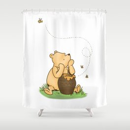 Classic Pooh with Honey - No background Shower Curtain