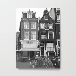 Love Amsterdam Houses and Bikes Metal Print