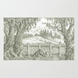 ONCE UPON A EUCALYPTUS VINTAGE PEN DRAWING Rug