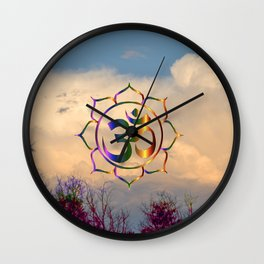Trees Clouds Om Wall Clock