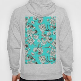 Modern teal brown white abstract floral Hoody