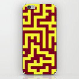 Electric Yellow and Burgundy Red Labyrinth iPhone Skin
