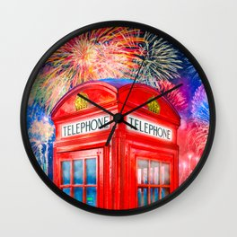 Fun Fireworks Over An Iconic Red British Phone Box Wall Clock