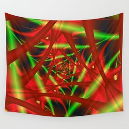 Red and Green Filament Spiral Wall Tapestry