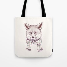 Fox and scarf Tote Bag