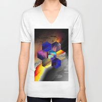 hexagon V-neck T-shirts featuring hexagon II by donphil