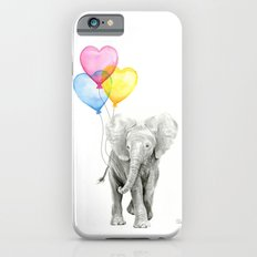 Elephant Watercolor with Balloons Rainbow Hearts Baby Whimsical Animal Nursery Prints iPhone 6s Slim Case