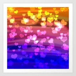 Lovely Hearts, Bokeh Art Print