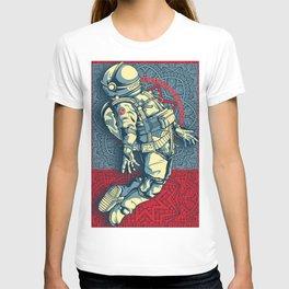 Rubino Float Astronaut Space Travel Galaxy Stars Planets T-shirt