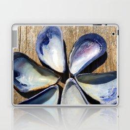 Blue Sea Shells | Blue and White Shell Flower | Beach | Nadia Bonello Laptop & iPad Skin