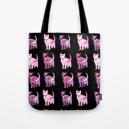 Black and pink cat pattern Tote Bag